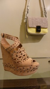 Alaia studded wedge $1400 and Mini square bag with yellow $450
