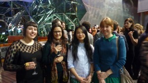 Presenter Estelle Tang (second from right) and friends