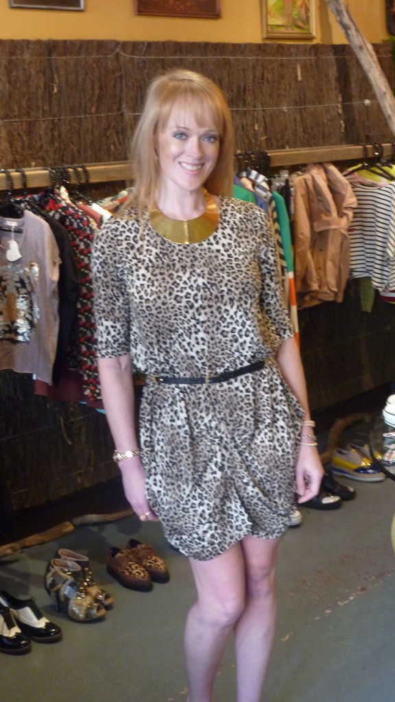 Leopart print dress - $99, Black/gold belt - $49, Gold plate necklace - $49