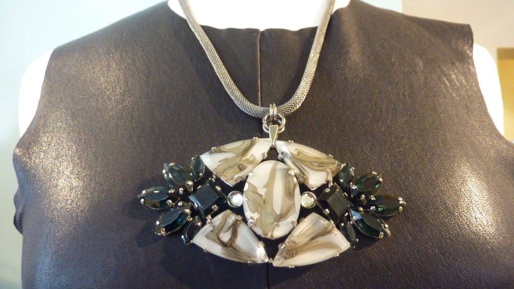 Silver metal Collet marble necklace $600