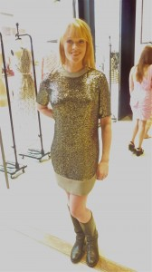 Jewel box tunic, pewter, $699