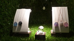 Quartz and diamond Lady-Bug necklaces $3500 each