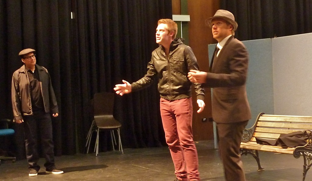 Voice Coach David Coury with actors Chris and Mark