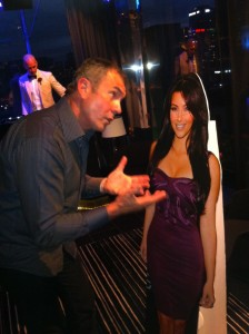 "Alan Fletcher chats with ""Kim Kardashian"" at the Swisse Stakes Day After Party"