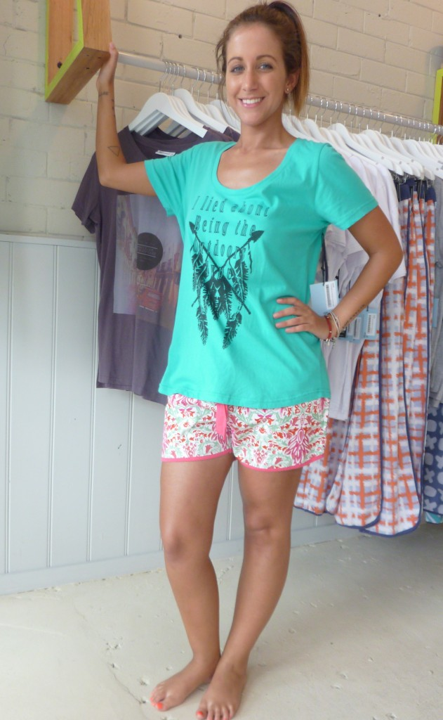 Floral boxer shorts $39.95 and Green Scoop Tee - Outdoors Type $45.00
