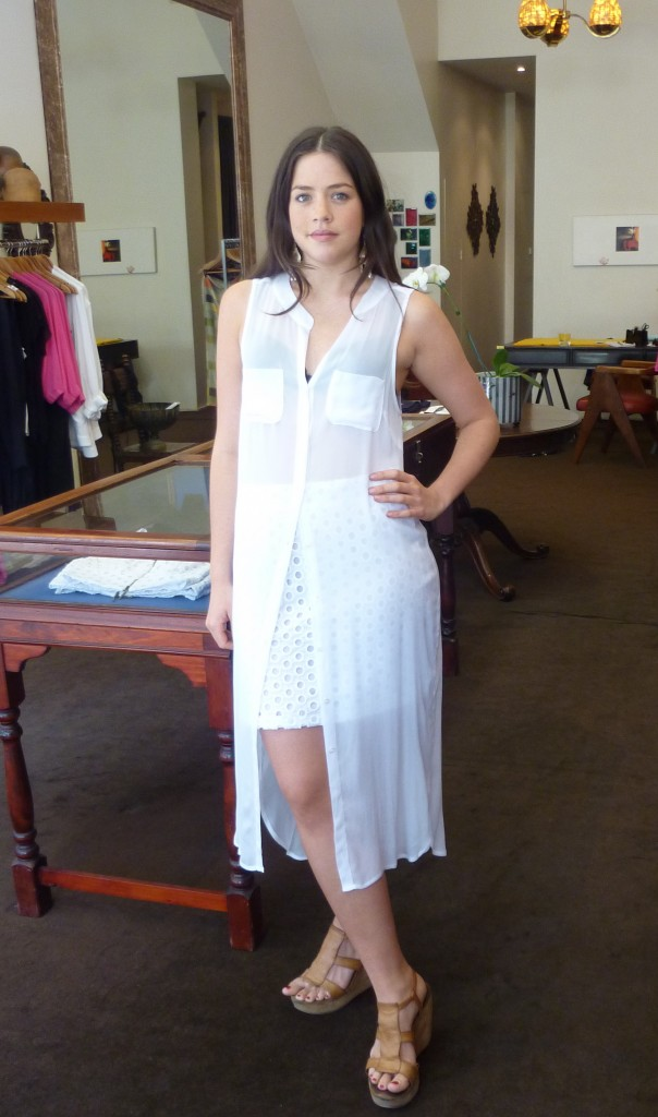 Pipa Shirt Dress $325 with White Malibu Skirt $265