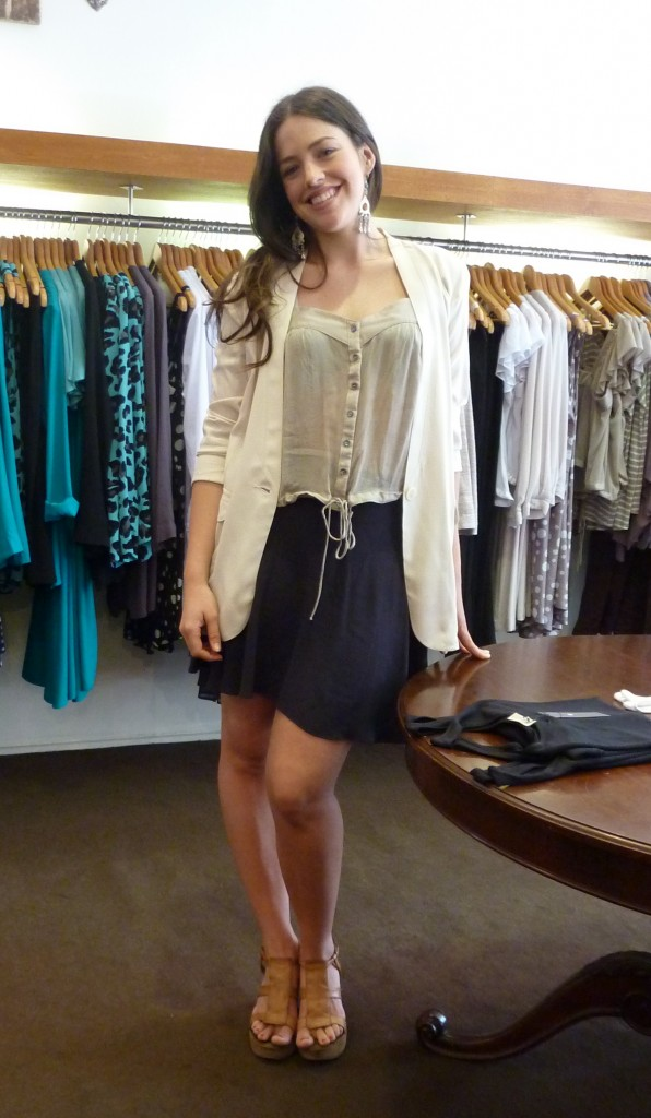 Florian jacket $385, Nantucket top $220 and Navy Salvatore Skirt $255