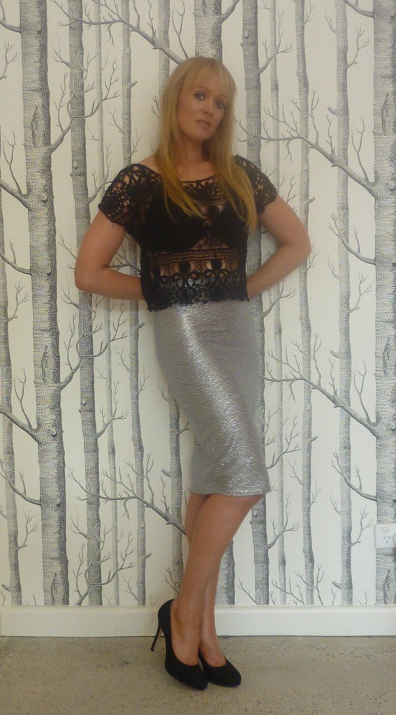 Inzagi black lace top $49.95 with Spy Clothing silver pencil skirt $69.95