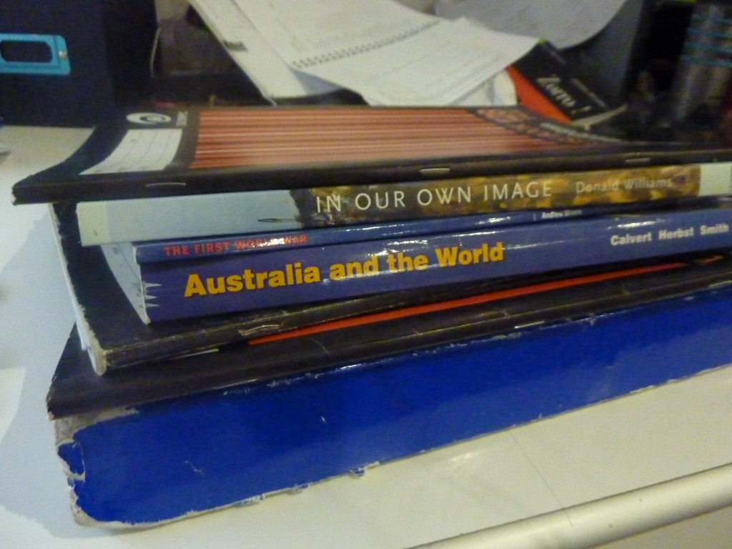 Tom's desk and school books