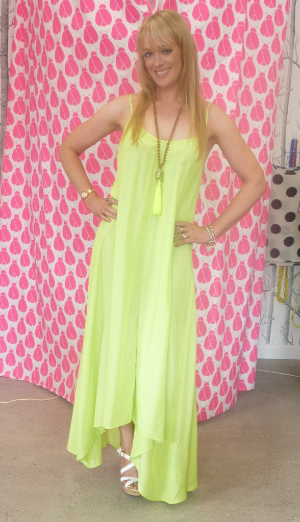 Lime 'Pink Stitch' maxi dress $89.95 with Buddha necklace $49.95