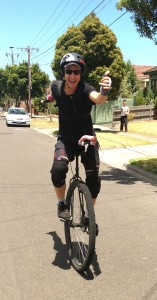 Sam on his unicycle
