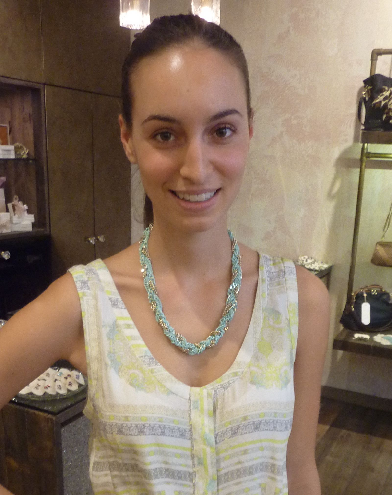 Alana, who works at Tilkah, wore the Ripple Effect necklace in mint - $79