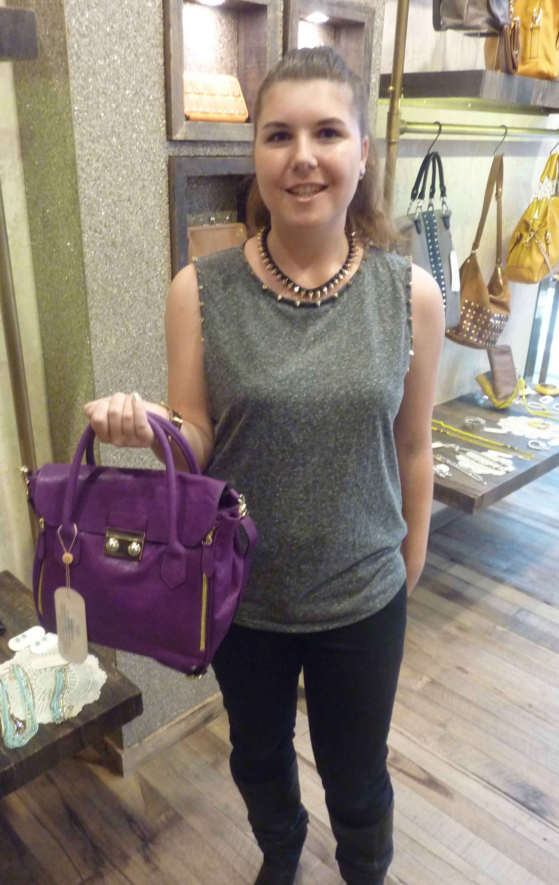 Daughter Ronnie helps out, modelling the Princeton Tote - $269