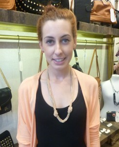 Jenna also works in store and teamed the Entangelemt necklace in Sherbet - $89 - nicely with her coral cardigan