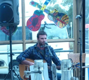 Singer Ben Brown travelled from Bendigo to perform at the festival.
