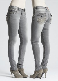 Grey jean with stitching is a signature look