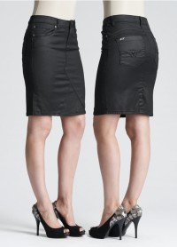 London Jeans coated black denim skirt