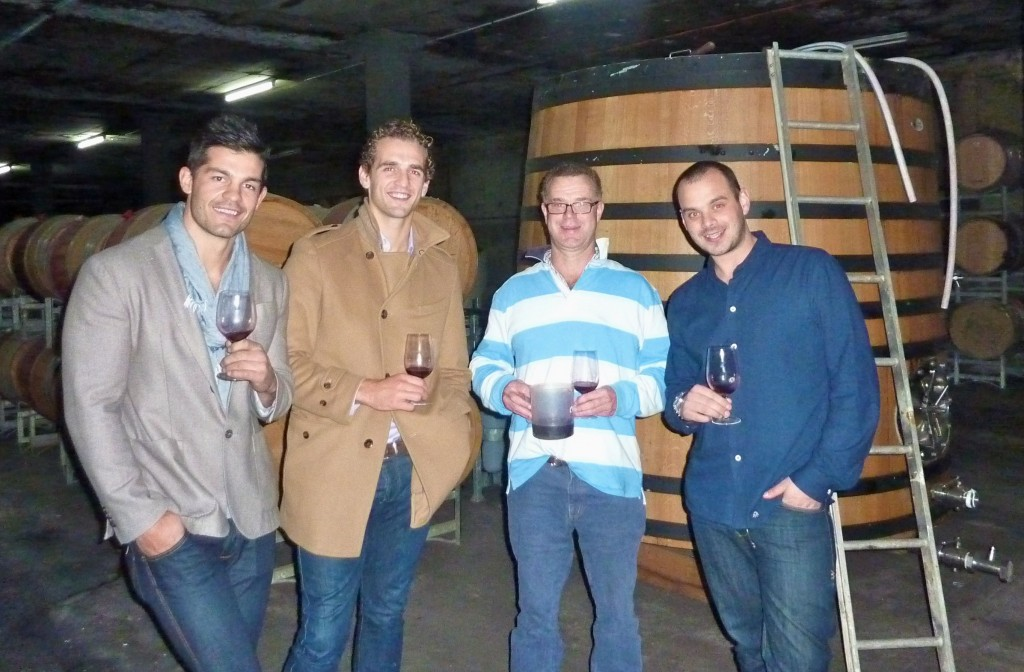 A special tasting in the cellar - Nick, Jack, John and