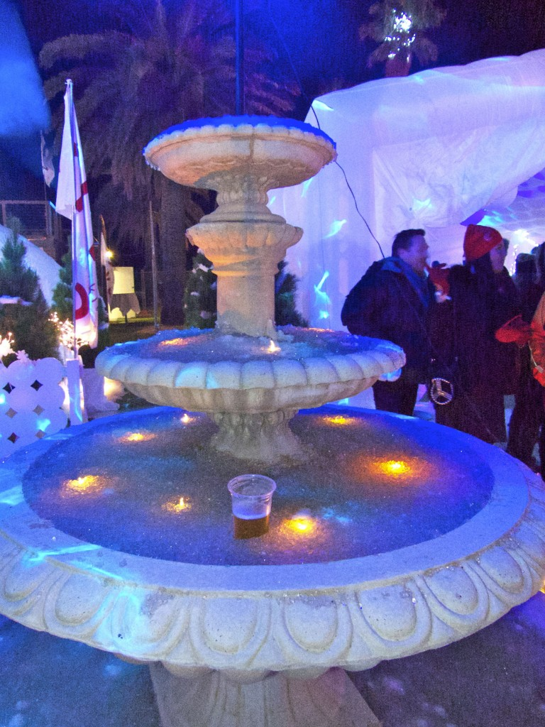 An ice-filled fountain - the perfect way to keep your beer chilled...