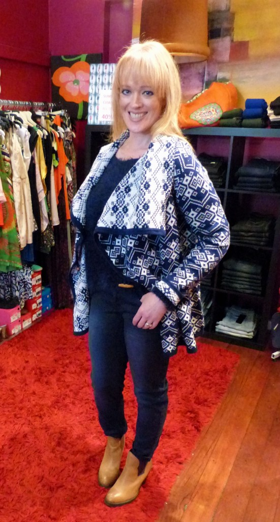 Kitch Snowflake cardigan - $109 and Tony Bianco boots - $189
