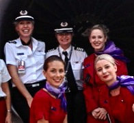 Emma and the crew at Virgin Airlines