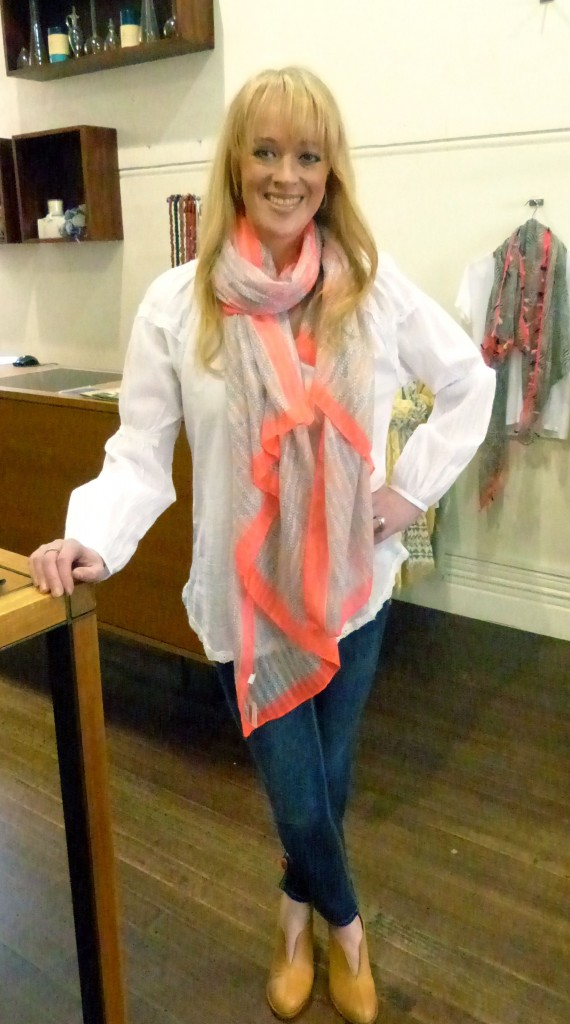 Ilse Jacobsen white shirt $129 and Tiger Tree scarf, $49