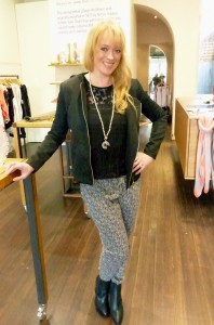 Viktoria and Woods Infinity jacket $399, Viktoria and Woods sleeveless black top $199, Angie Mac necklace $49