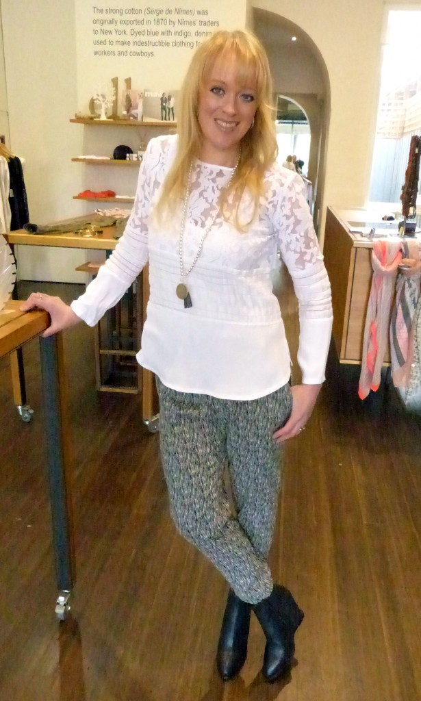 Viktoria and Woods white Caspian shirt $259, Fate black:white pants $99.95 and Angie Mac necklace $49