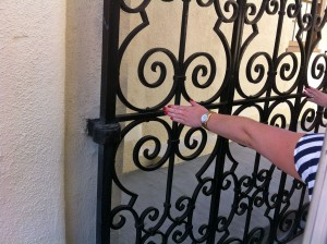 Touching the gates for good luck...