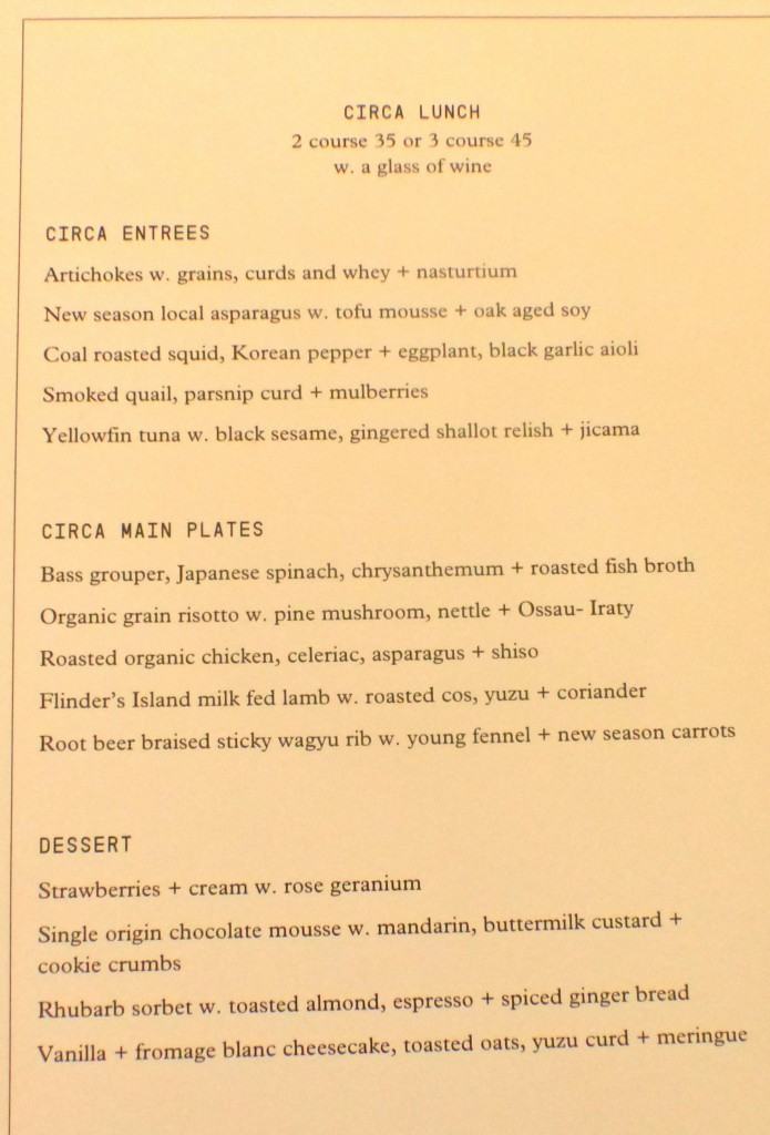 Circa's new lunch menu