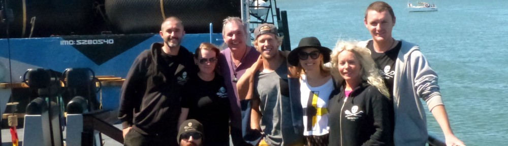 Fletch, Kayne and Saskia on board with the Sea Shepherd crew