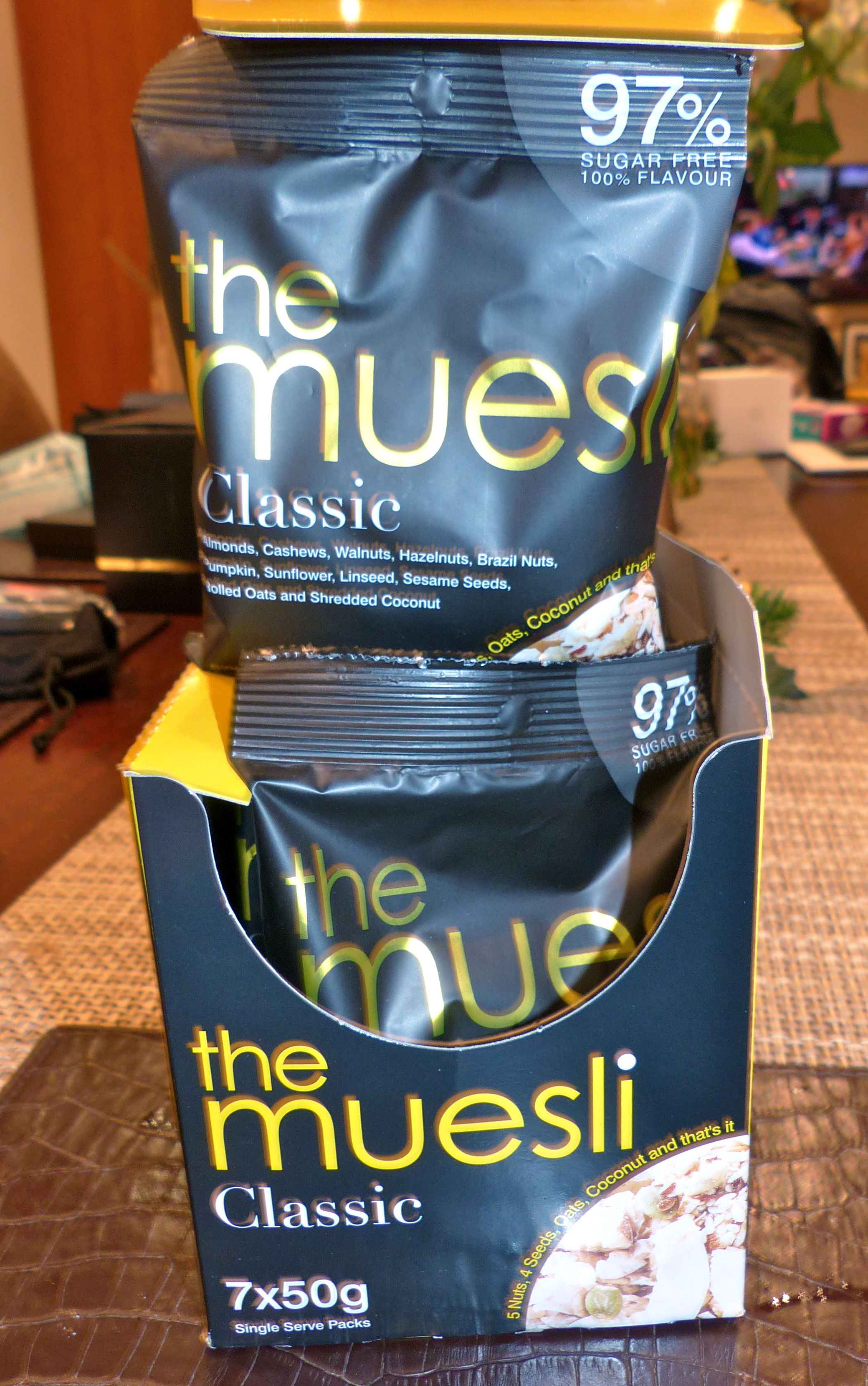 A box of The Muesli sachets