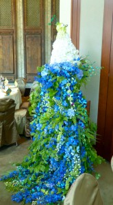 The room's decor was stunning, including the highlight - a towering floral peacock