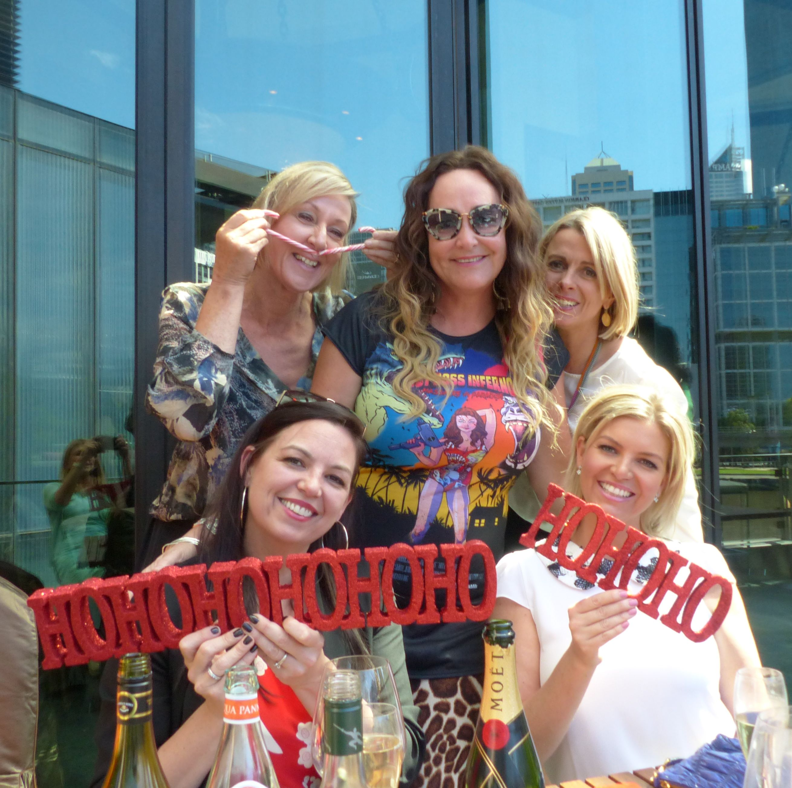 Dee Dee Dunleavy, Kate Langbroek, Brigitte Duclos, Jane Kennedy and Rebecca Maddern get into the festive spirit!