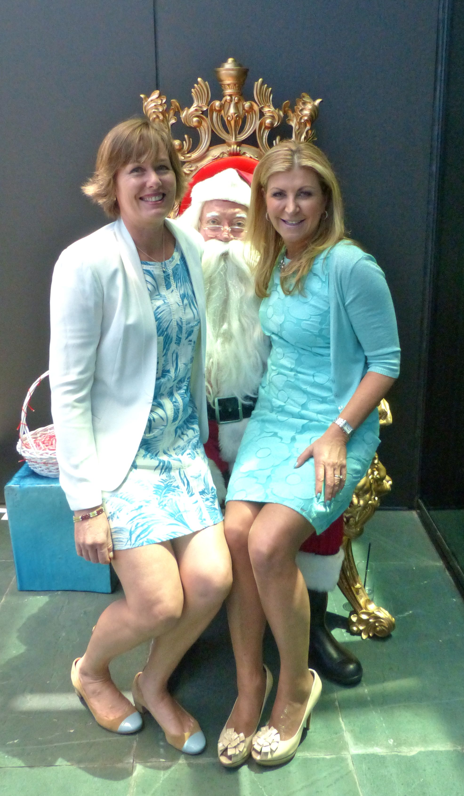 Never too old to sit on Santa's knee - me and Herald Sun columnist Wendy Tuohy