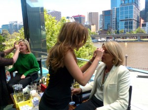 PR guru Kerry O'Brien and Gold FM's Brigitte Duclos get the full treatment from the Blo Bar crew