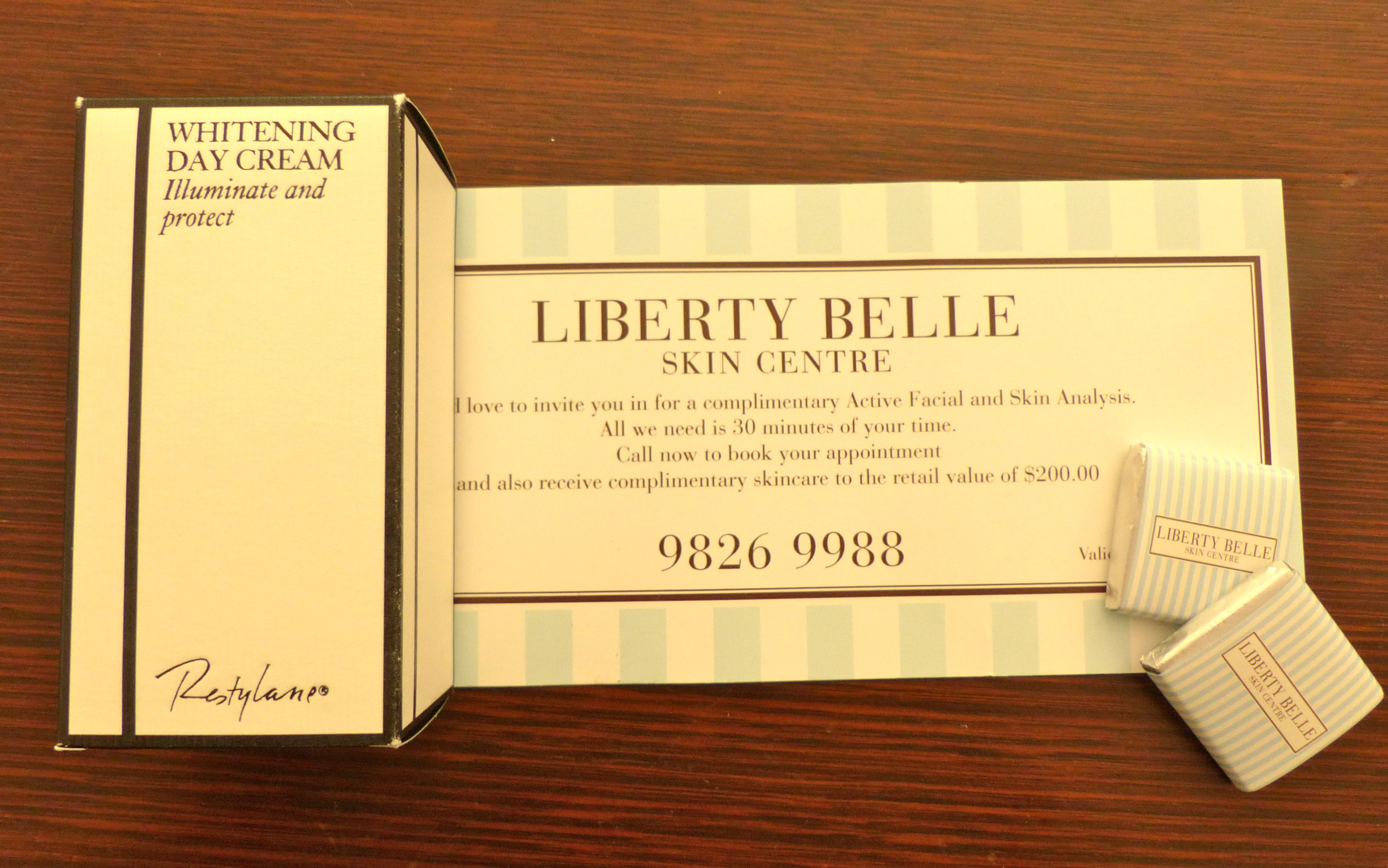 Whitening cream and skin evaluation voucher from Liberty Belle