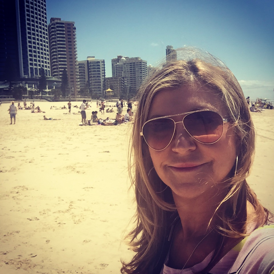 On the beach at Surfers Paradise
